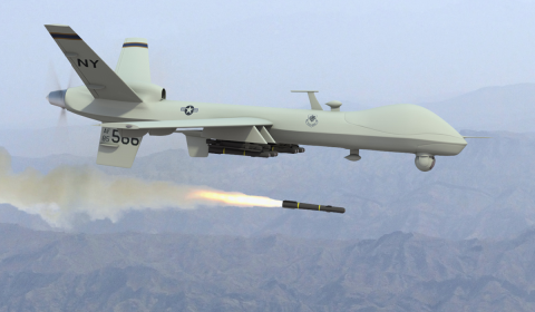 Drone Firing Hellfire Missile