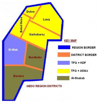 ASWJ Forces Control in Gedo Region (Yellow)