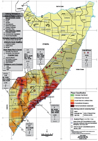 Shabelle Valley highlighted on a map of the drought-affected areas of Somalia